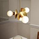 Circular Chandelier Lighting Contemporary Metal 3 Heads Gold Pendant Light Fixture