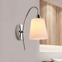 1 Bulb Conical Wall Lamp Modern Opal Frosted Glass Sconce Light Fixture in Chrome with Metal Curvy Arm