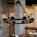 6/8 Lights Dining Room Chandelier Lamp Industrial Black Hanging Light with Cylinder Smoke Glass Shade