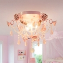 Pastoral Bare Bulb Ceiling Light 3 Bulbs Faceted Crystal Flush Mount Fixture in Pink for Bedroom