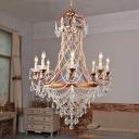 Brass Beaded Chandelier Lodge-Style Crystal 8 Lights Bedroom Pendant Lighting Fixture
