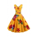 Formal Vintage Sleeveless V-Neck Bow Tie Waist All Over Floral Midi Pleated Flared Dinner Dress for Ladies