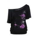 Casual Short Sleeve Drop Shoulder Floral Pattern Relaxed Fit T Shirt for Female