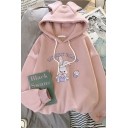 Girls' Lovely Long Sleeve Drawstring Letter LUCKY BLDG Rabbit Pattern Oversize Bunny Ear Hoodie