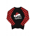 Popular Girls' Long Sleeve Crew Neck Letter MERRY CHRISTMAS Hat Graphic Plaid Pattern Patched Relaxed T-Shirt