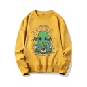 Harajuku Cartoon Octopus Printed Long Sleeve Round Neck Loose Fit Graphic Sweatshirt