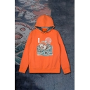 Fancy Sushi Shark and Sea Wave Printed Long Sleeves Unisex Drawstring Hoodie