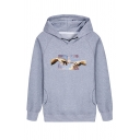 Hot Popular Blue Sky and Hand Print Long Sleeves Dual Pockets Side Casual Hoodie