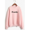 Simple Letter PEACHY Printed Long Sleeves Mock Neck Casual Sweatshirt