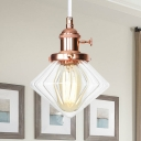 Diamond Amber/Clear Glass Hanging Fixture Industrial Style 1 Bulb Black/Bronze/Brass Ceiling Lamp with Adjustable Cord for Indoor