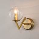 Simple Ball Shape Wall Mount Lamp Ribbed Glass 1/2 Lights Brass Finish Sconce Light