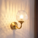 Contemporary Single Wall Sconce Brass Curved Armed Wall Mounted Lamp with Lattice Glass Shade