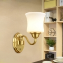 1/2-Head Cylindrical Wall Lamp Modernism Style White Glass Wall Mount Lighting with Gold Curved Arm