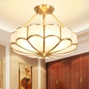 4/6 Bulbs Scalloped Semi Flush Mount Traditionalist Brass Metal Ceiling Lamp with Curved Frosted Glass Shade, 18