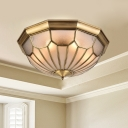 Metal Brass Ceiling Lamp Bowl 6 Heads Traditional Flush Mount Light Fixture with Beveled Glass Shade