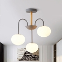 3/5 Bulbs Dining Room Chandelier Light Modern Style Gray/Green Pendant Lighting Fixture with Dome Milk Glass Shade