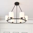 Drum White Glass Ceiling Chandelier Light Modernist Style 6/8 Lights Black Finish Hanging Lamp for Living Room