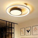 Drum Acrylic Flush Mount Lighting Modern Black-White 16
