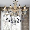Beveled Crystal Candle Chandelier Lighting Modern 6/8/18 Lights Tan Hanging Pendant for Bedroom, 23.5