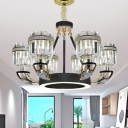 Traditional Cylindrical Chandelier Pendant Light Crystal 6/8 Bulbs Living Room Suspension Lamp in Black