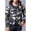 Mens Popular Camouflage Print Long Sleeve Zip Placket Slim Fit Hooded Puffer Coat
