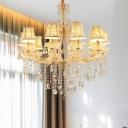 Gold Candle/Cone Chandelier Light Modernism 10 Heads Beveled Glass Crystal Pendant Lighting for Living Room