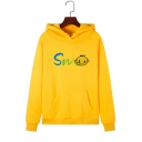 Womens Cute Smile Face Letter Print Long Sleeve Kangaroo Pocket Drawstring Hoodie