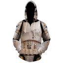 Mens Cool Movie Cosplay Costume Khaki Armour Pattern Zip Up Drawstring Hoodie