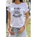 Popular Letter PLANT WHISPERER Print Short Sleeve Crewneck Slim Fit Graphic T-Shirt