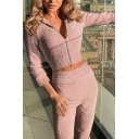 Womens Glitter Fashion Long Sleeve Zip Up Crop Hoodie with Casual Pants Plain Co-ords