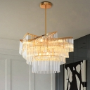 Postmodern Tiered Crystal Rod Hanging Lamp 9 Heads Gold Chandelier Light Fixture