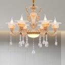 Gold Candelabra Chandelier Lighting Modernism 6/8/10 Heads Crystal Drop Hanging Light Kit