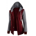 Simple Style Colorblocked Patch Long Sleeve Button Down Drawstring Hoodie
