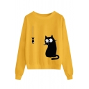 Classic Trendy Ladies' Long Sleeve Round Neck Kitty Fish Printed Loose Daily Pullover Sweatshirt