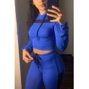 Stylish Mesh Insert Long Sleeve Cropped Drawstring Hoodie Yoga Pants Sports Set