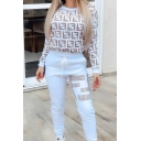 Exclusive Letter F Pattern Long Sleeve Sweatshirt with Drawstring Waist Pants Casual Daily Co-ords