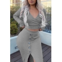 Graceful Long Sleeve V-Neck Crop Top with Button Decoration Split Front Midi Skirt Gray Co-ords