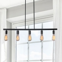 Linear Island Lighting Industrial Stylish Metallic 5 Lights Black Island Chandelier Light with Open Bulb for Restaurant