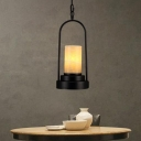 Cylinder Marble Shade Hanging Lighting Farmhouse Style 1 Light Restaurant Suspension Lamp for Bronze/Black Finish