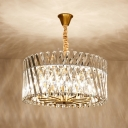 Crystal Drum Shaped Chandelier Light Contemporary 12 Lights Pendant Lamp in Brass for Living Room