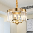 Modern Cylindrical Hanging Chandelier Faceted Crystal 3 Bulbs Ceiling Pendant Light in Brass