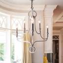 Aged Silver Candle Chandelier Lamp Tradition 6 Heads Metal Hanging Ceiling Light with Crystal Bead