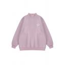 Girls Simple Whole Colored Long Sleeve Mock Neck Oversized Sweatshirt