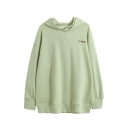 Preppy Girls' Long Sleeve Hooded Letter FLIPPED Print Relaxed Fit Thin Hoodie