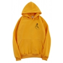 Cool Street Long Sleeve Drawstring Finger Heart Pattern Kangaroo Pocket Baggy Pullover Hoodie for Female