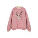 Pink Cute Christmas Elk Embroidery Long Sleeve Fake Two Piece Panel Loose Sweatshirt