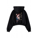 Chinese Style Peking Opera Pattern Letter FEELINGS Print Black Long Sleeve Cropped Hoodie