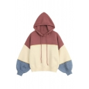 Womens Classic Colorblocked Patchwork Long Sleeve Oversized Drawstring Hoodie