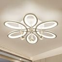 Floral Flush Light Contemporary Acrylic LED White Close to Ceiling Lighting with Crystal Teardrop
