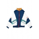 Sport Girls' Long Sleeve Stand Collar Zipper Front Contrasted Relaxed Fit Jacket in Navy Blue